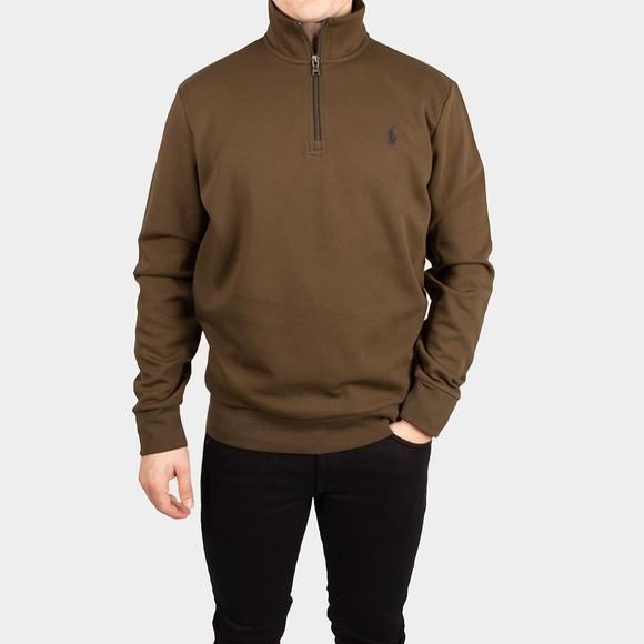 Polo Ralph Lauren Mens Green Tech Half Zip Sweatshirt