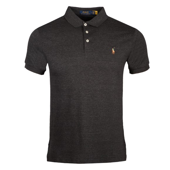 Polo Ralph Lauren Mens Black Marl Heather Slim Fit Soft Cotton Polo Shirt