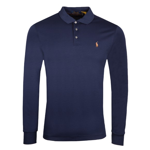 Polo Ralph Lauren Mens Blue Custom Slim Fit Long Sleeve Polo Shirt