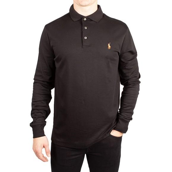 Polo Ralph Lauren Mens Black Custom Slim Fit Long Sleeve Polo Shirt