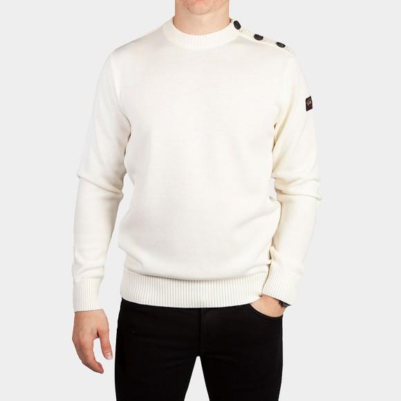 Paul & Shark Mens Off-White Button Shoulder Knitted Jumper