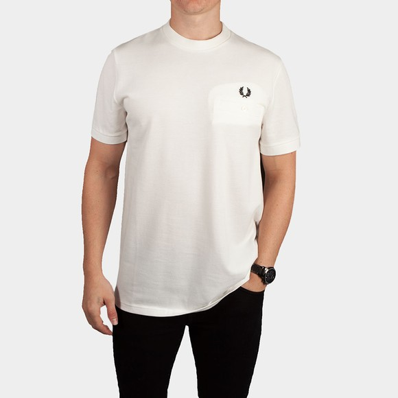 Fred Perry Mens Off-White Pocket Pique T-Shirt