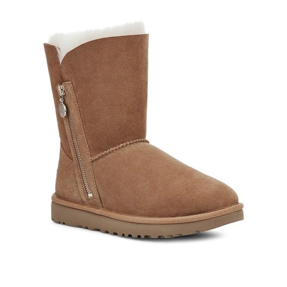 Ugg Womens Brown Bailey Zip Short Boot