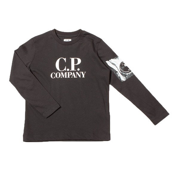 C.P. Company Undersixteen Boys Black Long Sleeve Viewfinder Sleeve T Shirt