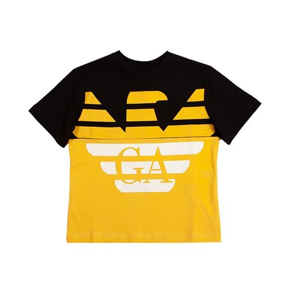 Emporio Armani Boys Black Large Eagle Logo T Shirt