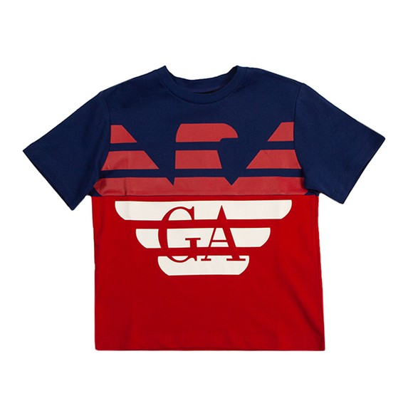 Emporio Armani Boys Blue Large Eagle Logo T Shirt