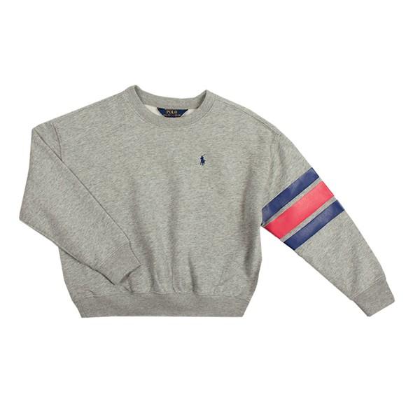 Polo Ralph Lauren Boys Grey Logo Striped Sweatshirt