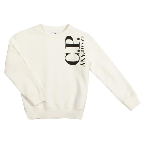 C.P. Company Undersixteen Boys Off-White Side Logo Crew Sweatshirt