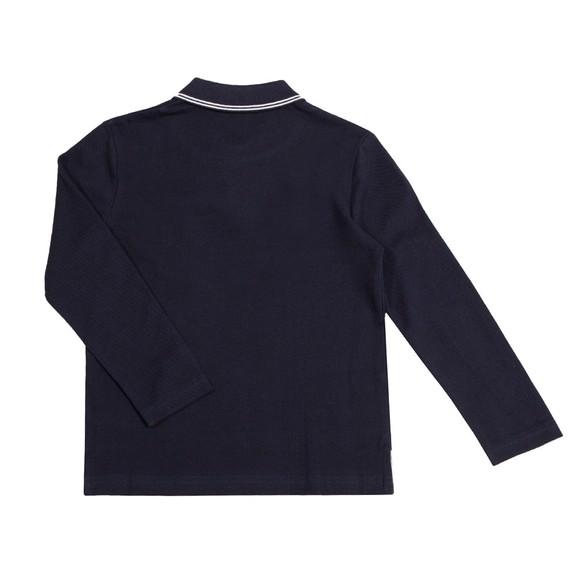 BOSS Boys Blue Square Badge Long Sleeve Polo Shirt main image