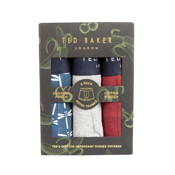 Ted Baker Mens Blue Assorted 3 Pack Boxers