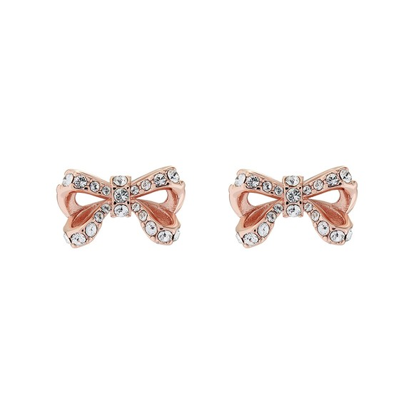 Ted Baker Womens Pink Callayy Crystal Bow Stud Earring