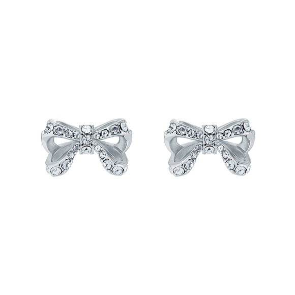 Ted Baker Womens Silver Callayy Crystal Bow Stud Earring