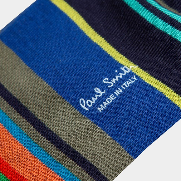 Paul Smith Mens Blue Block Stripe Sock