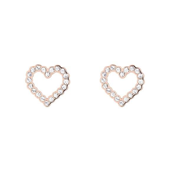 Ted Baker Womens Gold Leenah Crystal Heart Stud Earring