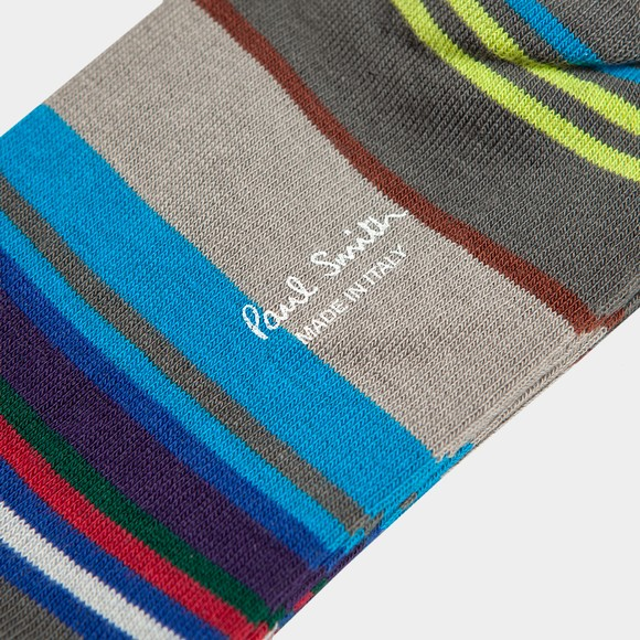 Paul Smith Mens Grey Block Stripe Sock