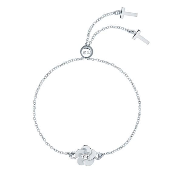 Ted Baker Womens Silver Pelanna Flower Drawstring Bracelet