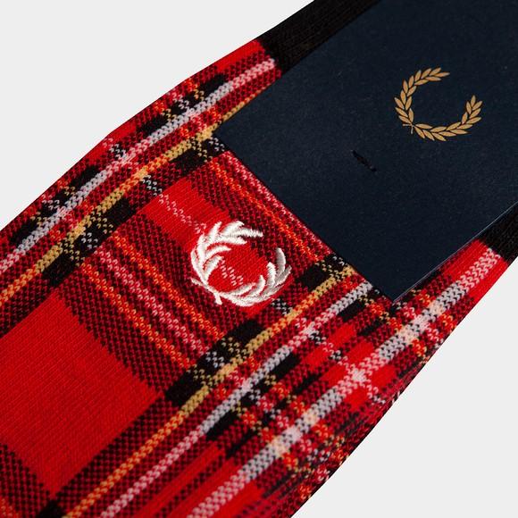Fred Perry Mens Red Royal Stewart Tartan Sock