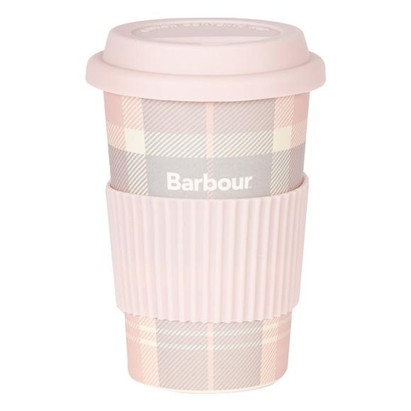 Barbour Lifestyle Womens Pink Tartan Travel Mug