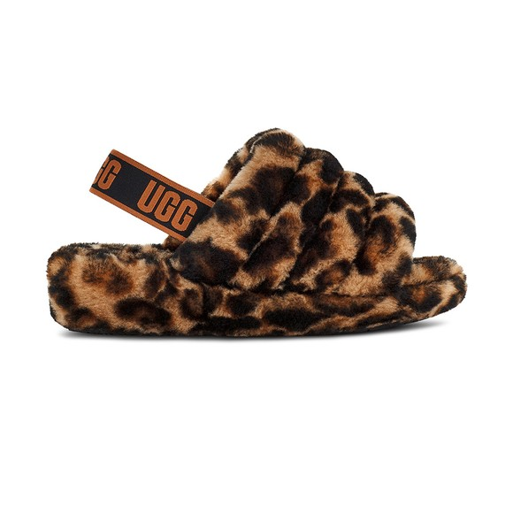 Ugg Womens Brown Fluff Yeah Panther Print Slide