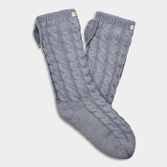 Ugg Womens Grey Laila Bow Fleece Lined Sock