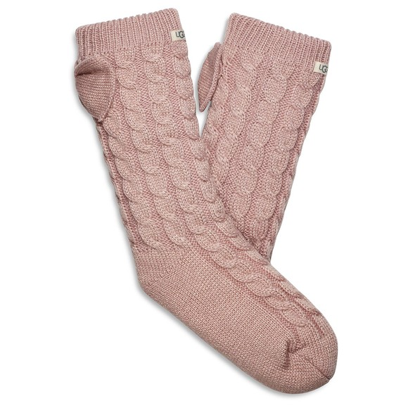 Ugg Womens Pink Laila Bow Fleece Lined Sock