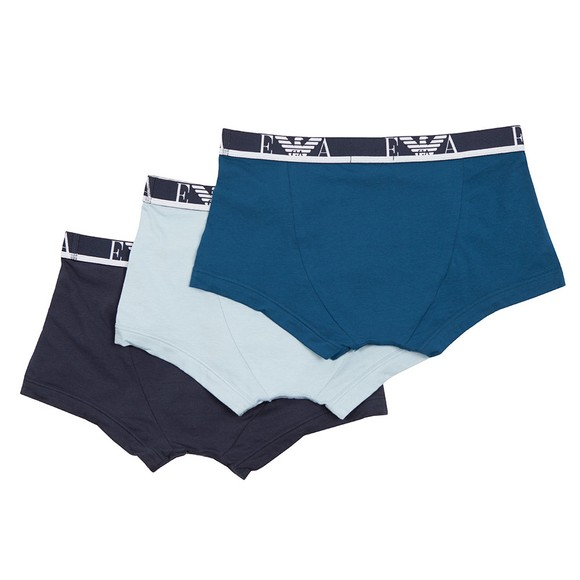 Emporio Armani Mens Navy/Teal/Sky 3 Pack Stretch Cotton Trunk