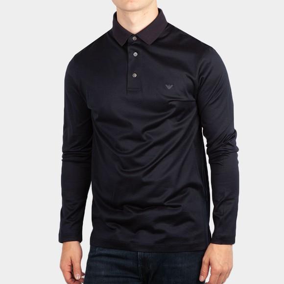 Emporio Armani Mens Blue Essential Pima Polo Shirt
