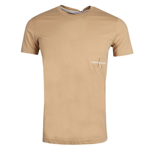 Calvin Klein Jeans Mens Beige Off Placed Iconic T-Shirt