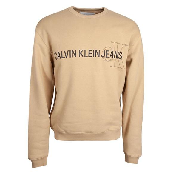 Calvin Klein Jeans Mens Beige Seasonal Logo Sweatshirt