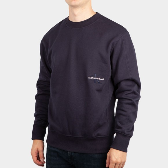 Calvin Klein Jeans Mens Blue Off Placed Iconic Sweatshirt
