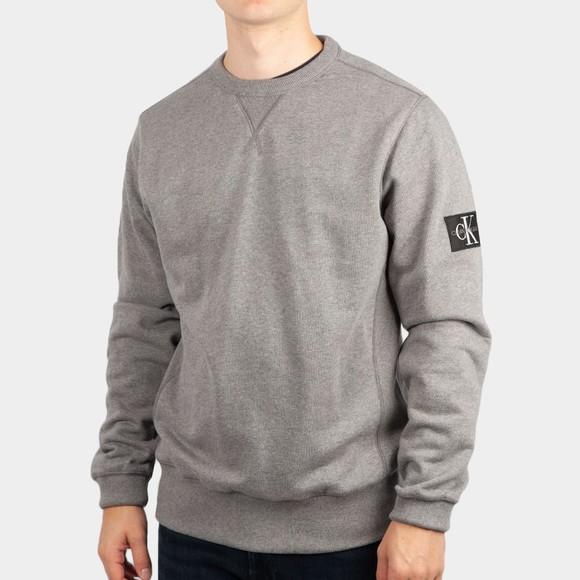 Calvin Klein Jeans Mens Grey Sleeve Badge Crew Sweatshirt