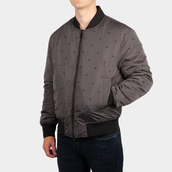 Emporio Armani Mens Grey Allover Logo Reversible Bomber Jacket