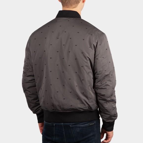 Emporio Armani Mens Grey Allover Logo Reversible Bomber Jacket main image