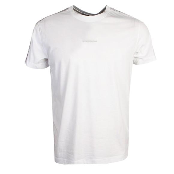 Calvin Klein Jeans Mens White Logo Jacquard Shoulder T-Shirt