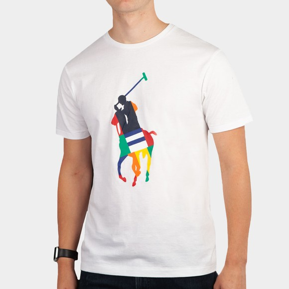 Polo Ralph Lauren Mens White Large Pony Multi T Shirt