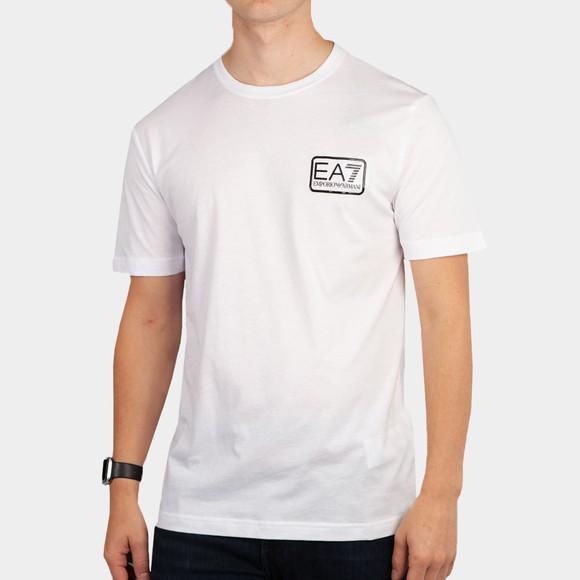 EA7 Emporio Armani Mens White Square Logo T-Shirt