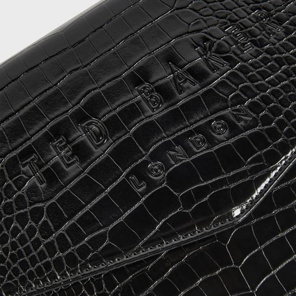 Ted Baker Womens Black Crocey Croc Detail Debossed Pouch