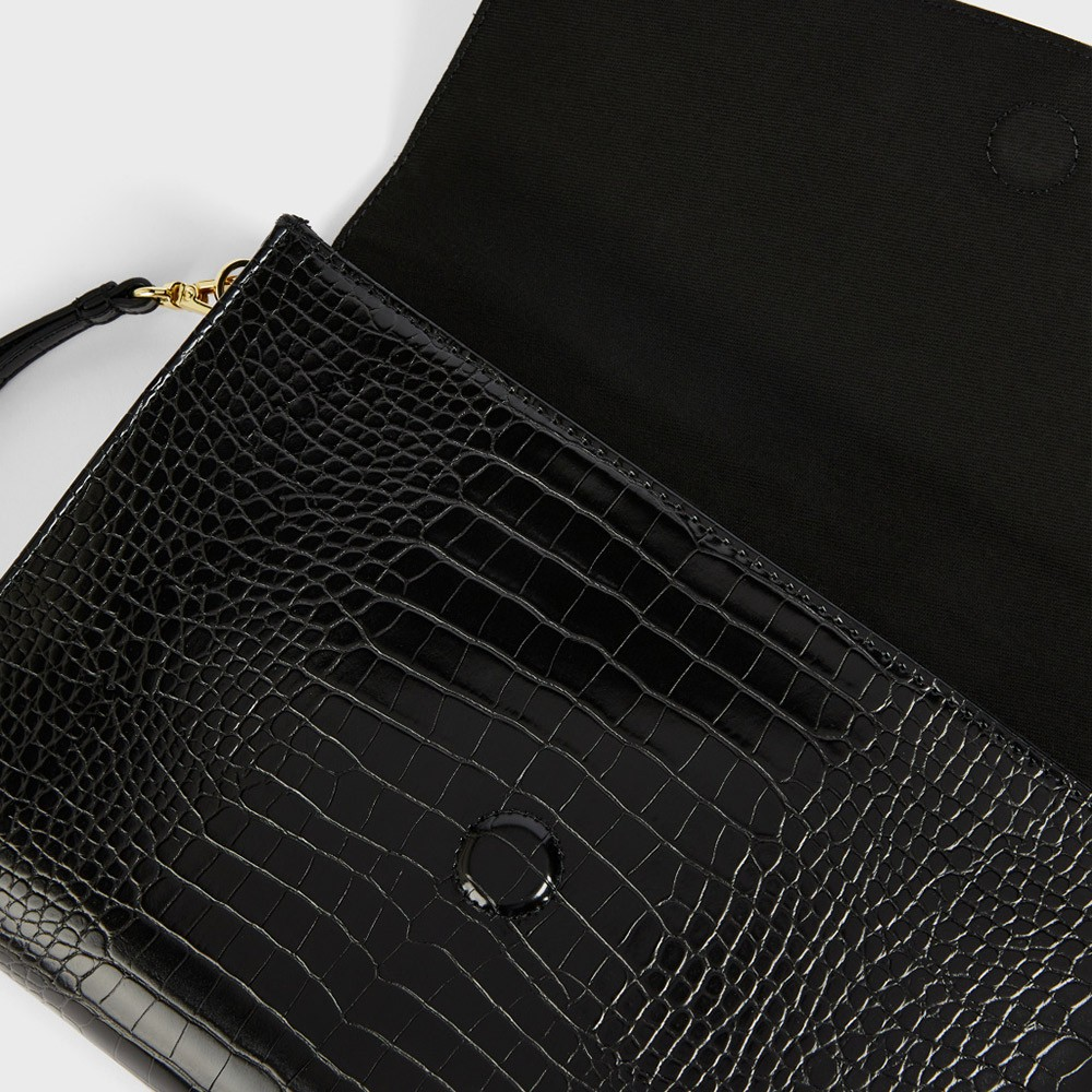 Crocey Croc Detail Debossed Pouch main image