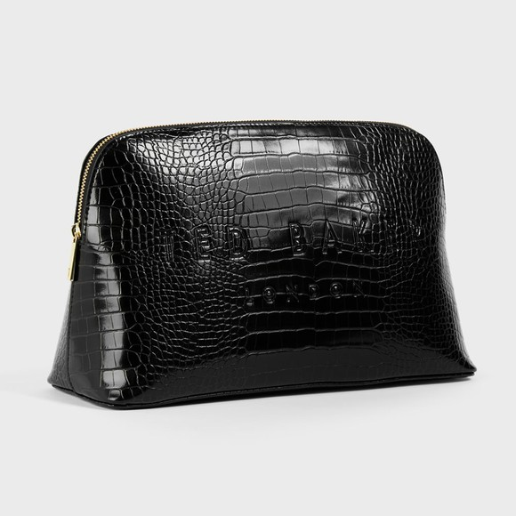 Ted Baker Womens Black Crocana Croc Detail Debossed Washbag