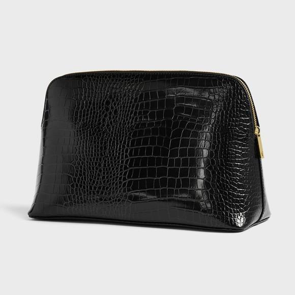 Ted Baker Womens Black Crocana Croc Detail Debossed Washbag main image
