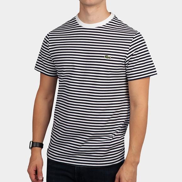 Lacoste Mens White TH7095 Stripe T-Shirt