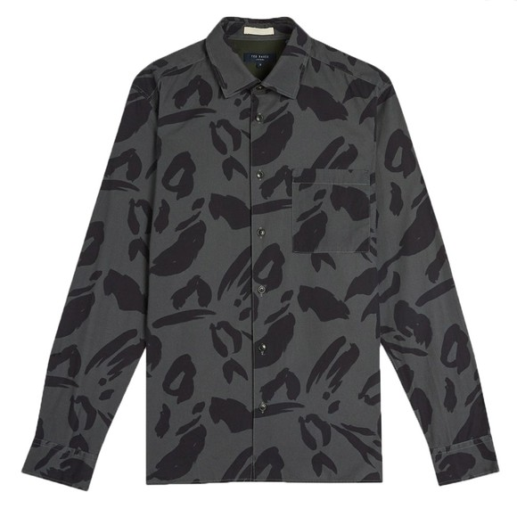 Ted Baker Mens Grey Karpass Animal Print Shirt