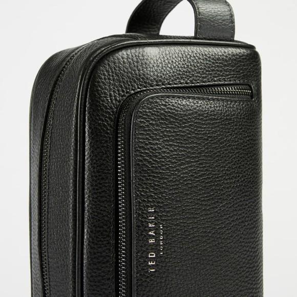 Ted Baker Mens Black Clings Leather Washbag
