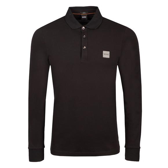 BOSS Mens Black Casual Passerby 1 Long Sleeve Polo Shirt