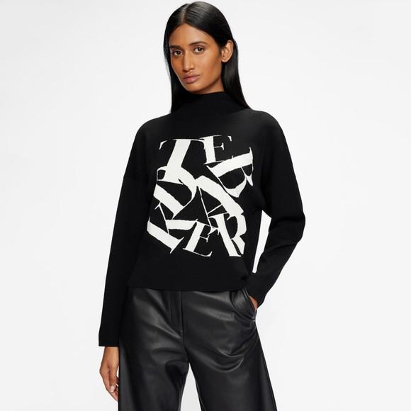 Ted Baker Womens Black Izbelle Funnel Neck Branded Sweatshirt