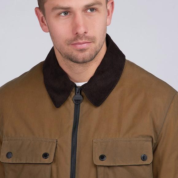 Barbour International Mens Beige Accelerator Baffins Wax Jacket main image