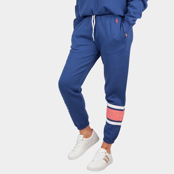 Polo Ralph Lauren Womens Blue Cuffed Logo Leg Jogger