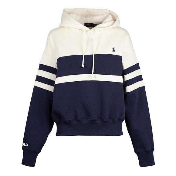 Polo Ralph Lauren Womens Blue Stripe Relax Hooded Sweatshirt