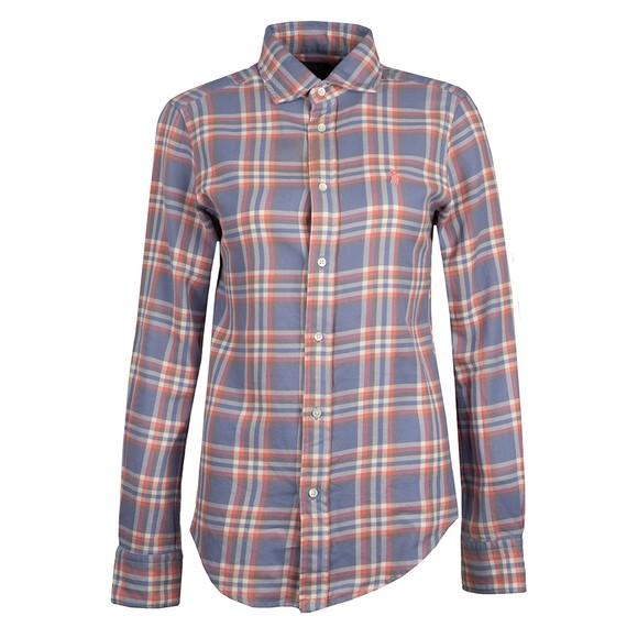 Polo Ralph Lauren Womens Blue Classic Fit Plaid Shirt