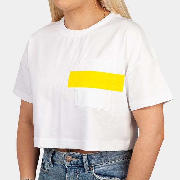Calvin Klein Jeans Womens White Hero Logo Crop Top